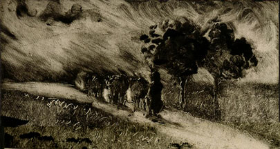 510.pissarro vacherie le soir.1890
