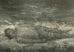 yan pei ming. Gadhafi's corpse. october 20th 2011. 2011. 110x160