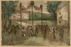0060.GUYSAutorités forçant le château d'Eu. Constantin Guys (1802-1892)