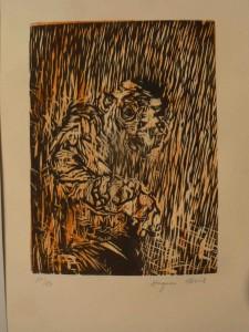 12G01. gravure sur linoleum. tirage à 10 exemplaires