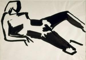 stael.Nicolas de Staël Étude de nu, 1952-1953 Encre de Chine sur papier
