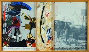 """""""Mère Afrique"""",1982, de Télémaque.  graphite, papiers collés, photo, oeillets, calque, cuir, 83×148, coll. FRAC Aquitaine"""