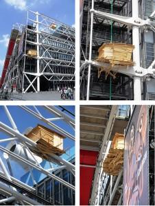 Tadashi Kawamata, Huts, installations sur les façades du Centre Georges Pompidou, 2010