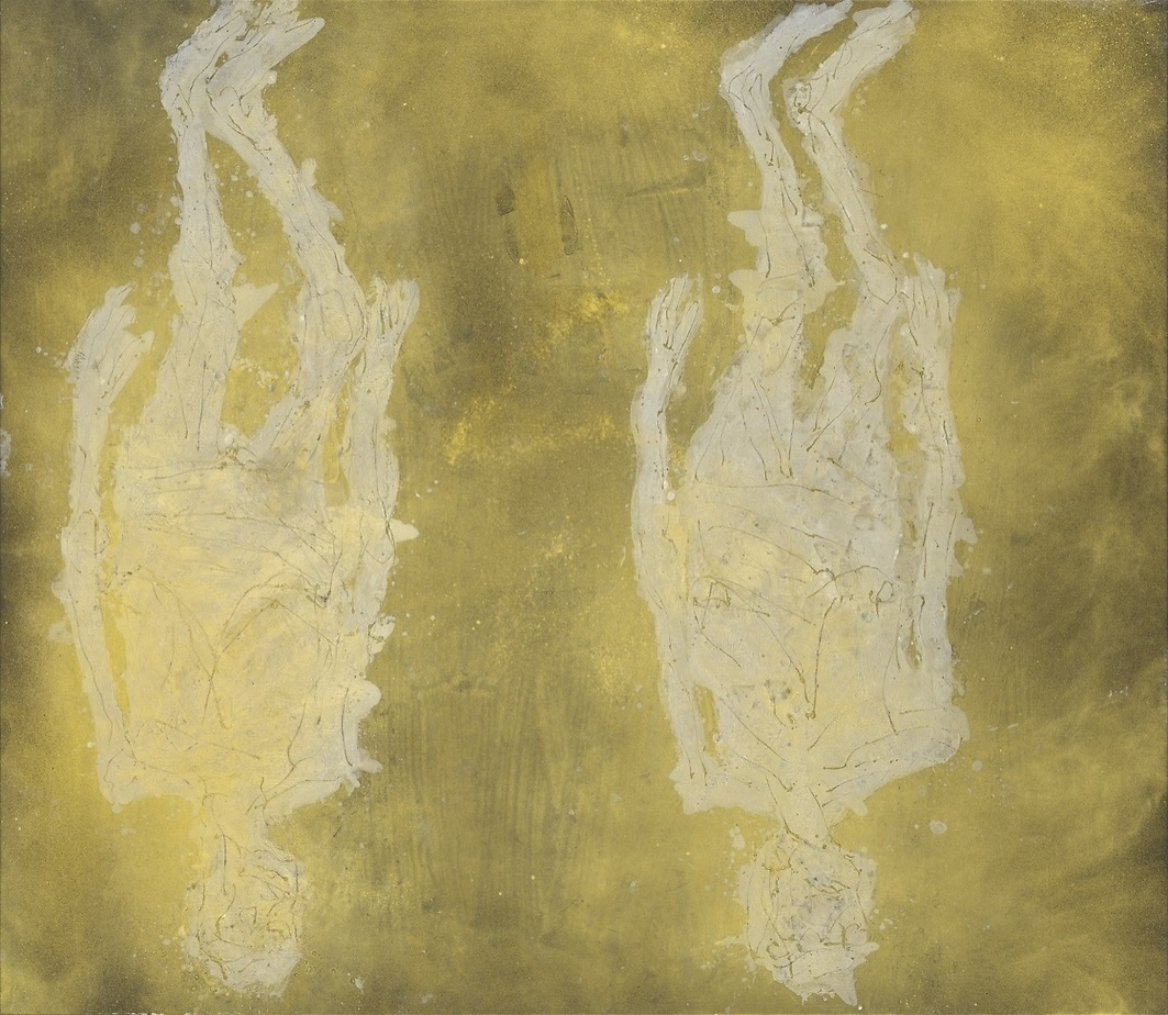 Georg Baselitz, Surdororeal, Oil and gold lacquer on canvas, 304 x 350 cm (119,69 x 137,8 in)