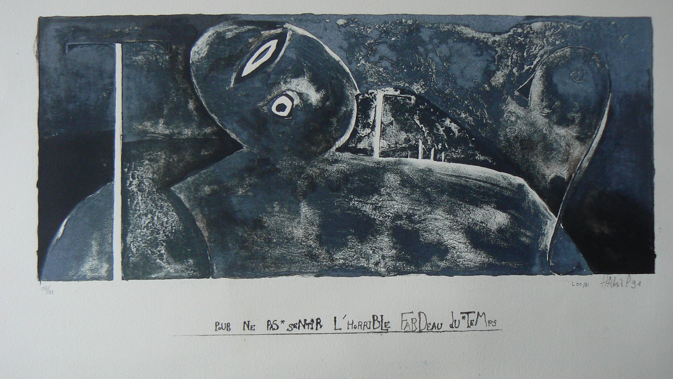 pour ne pas sentir l'horrible fardeau du temps. série COL TEMPO. lithographie. 1991