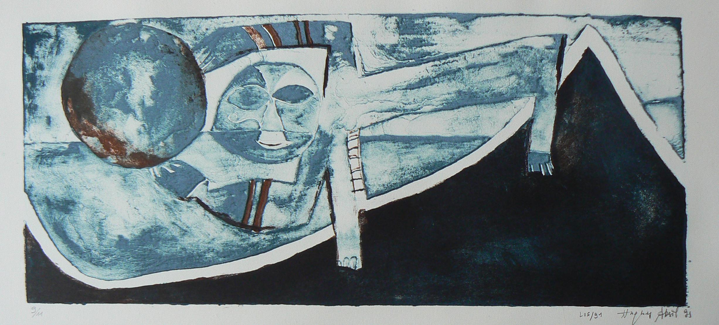 17M18. monotype sur gravure